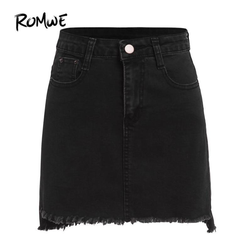 रोम डेनिम बॉडीकॉन स्कर्ट के ऊपर पॉकेट के साथ महिलाओं के लिए काले रंग के ROMWE शरद ऋतु मिनी स्कर्ट आरामदायक स्कर्ट