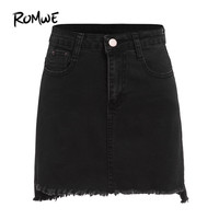 ROMWE Autumn Mini Skirts Casual Skirts For Women Plain Black Raw Hem With Pockets Above Knee