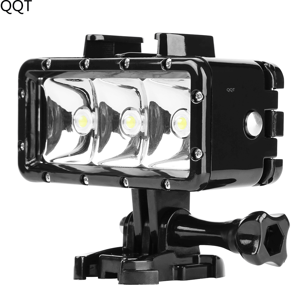 QQT 40m waterproof diving fill light 3LED light 300lm underwater flashlight for Gopro Hero 7 6 5 sports camera accessories