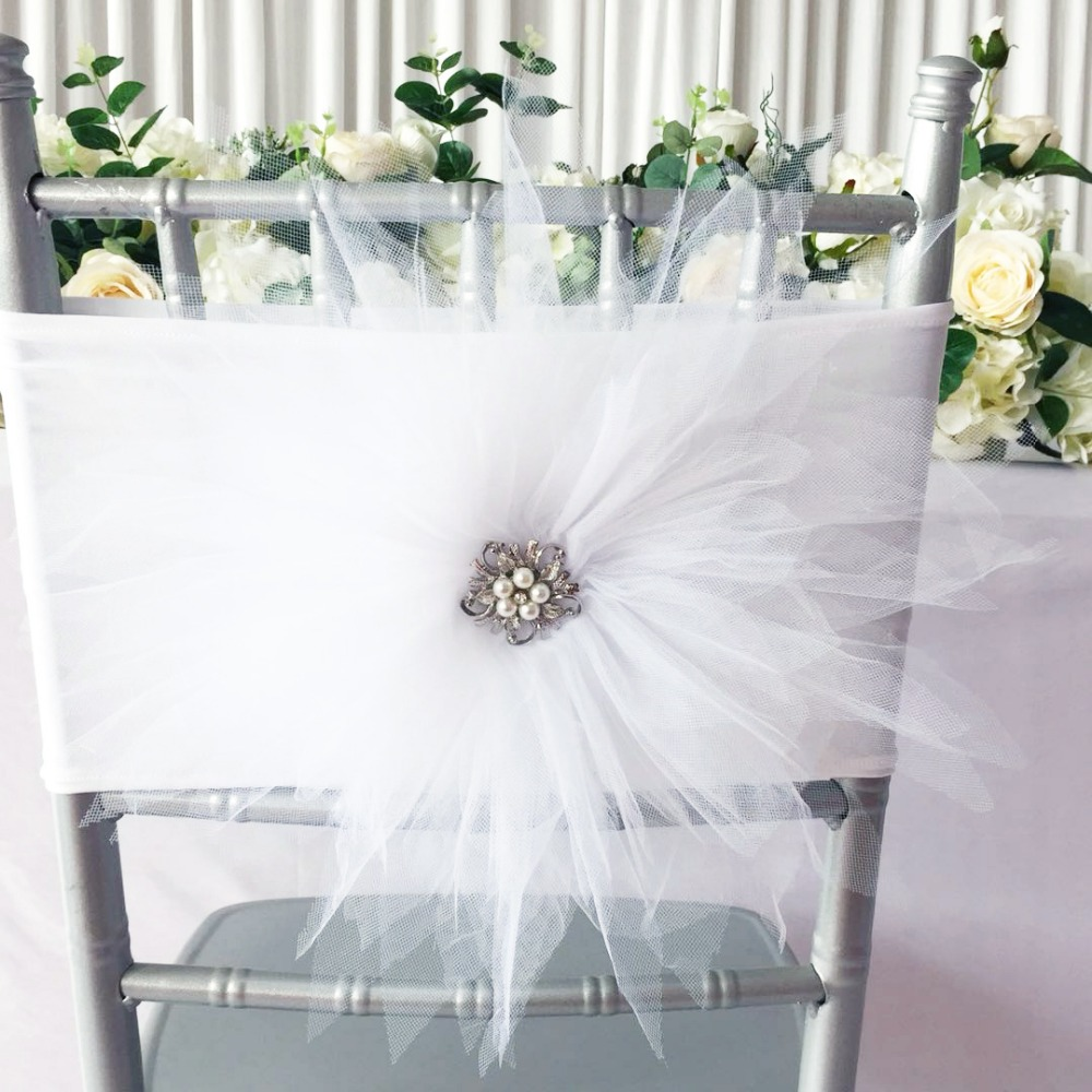 New Arrival 100PCS white Big Tutue Flower Chair Band For Hotel Chair Decoration Use Wedding Chair Sashes