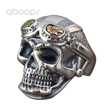 Punk Solid Real 925 Sterling Silver Cool Skull Head Open Ring for Men Boys Adjustable Free Shipping newest design fire flaming skull ring 925 sterling silver cool fashion men biker skull head ring