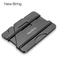 NewBring Multiple Function Metal Credit Card Holder Black Pocket Box Business Cards ID Wallet With RFID