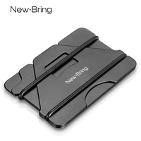 NewBring Multiple Function Metal Credit Card Holder Black Pocket Box Business Cards ID Wallet With RFID