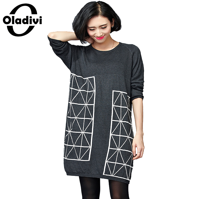 Oladivi 2017 Korean Fashion Women Warm Knitted Sweater Dresses Autumn Winter Female Long Sleeve Sexy Mini Knitwear Sweater Dress new 2017 hats for women mix color cotton unisex men winter women fashion hip hop knitted warm hat female beanies cap6a03