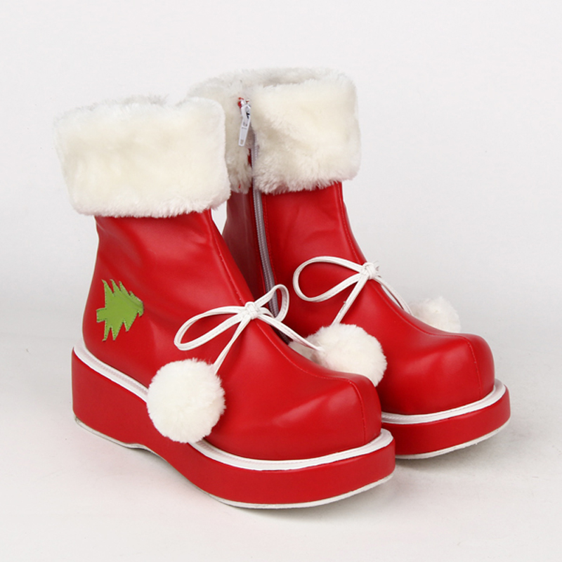 Plus Size winter ladies <font><b>lolita</b></font> <font><b>shoes</b></font> <font><b>red</b></font> Christmas short boots women Plus velvet leather flats <font><b>shoes</b></font> Princess platform <font><b>shoes</b></font> image