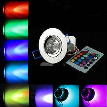 3 w rgb conduziu o teto para baixo luzes recessed da lâmpada do ponto lâmpadas ac 90 v-260 v 3 w downlight ac/dc 12 v festa de aniversário luzes coloridas