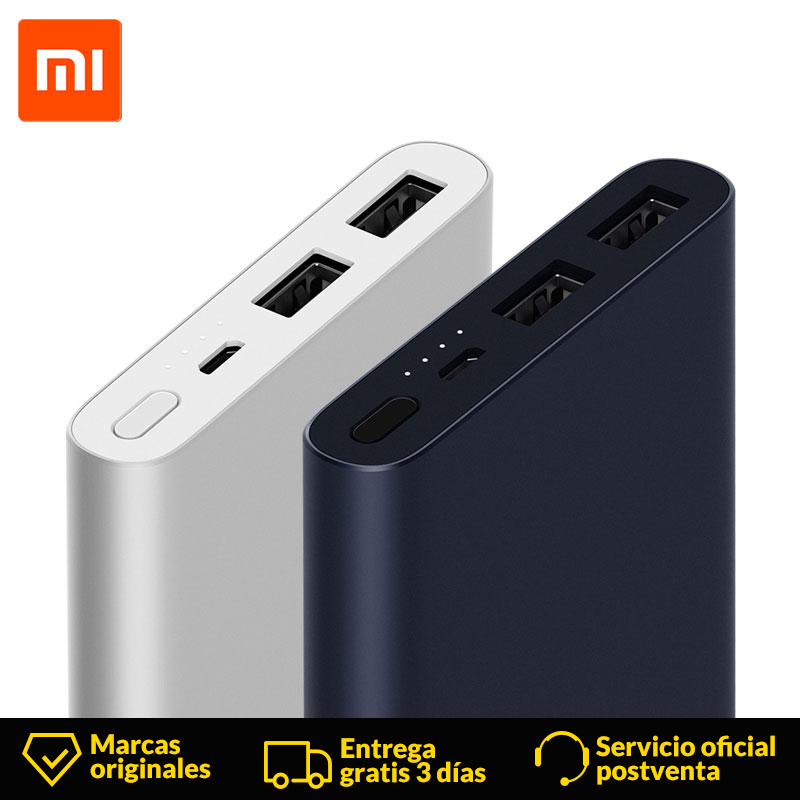 Xiaomi Mi Power Bank 2 10000 mAh Two-way fast charge External Battery Bank Dual USB Output Micro USB Portable Charger Ultra-thin
