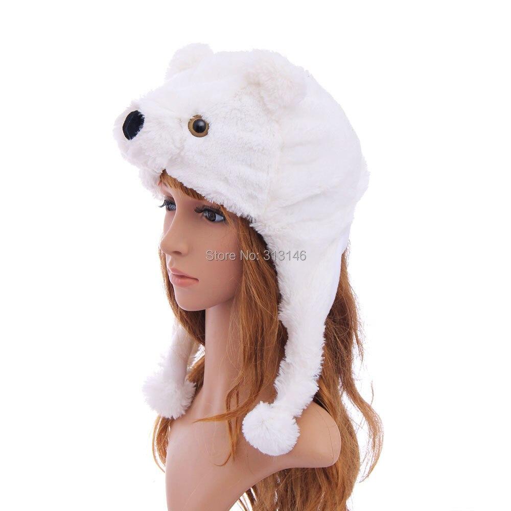 WHITE POLAR BEAR ANIMAL CARTOON PLUSH FLUFFY HOODED HAT CAP BEANIE EARMUFF 1