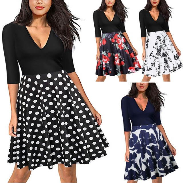 HooltPrinc New Arrival V-Neck Fashion Casual Women Knese-Length Dress Girl's Party Boho Work Dresses Printing Fit and Flare Half