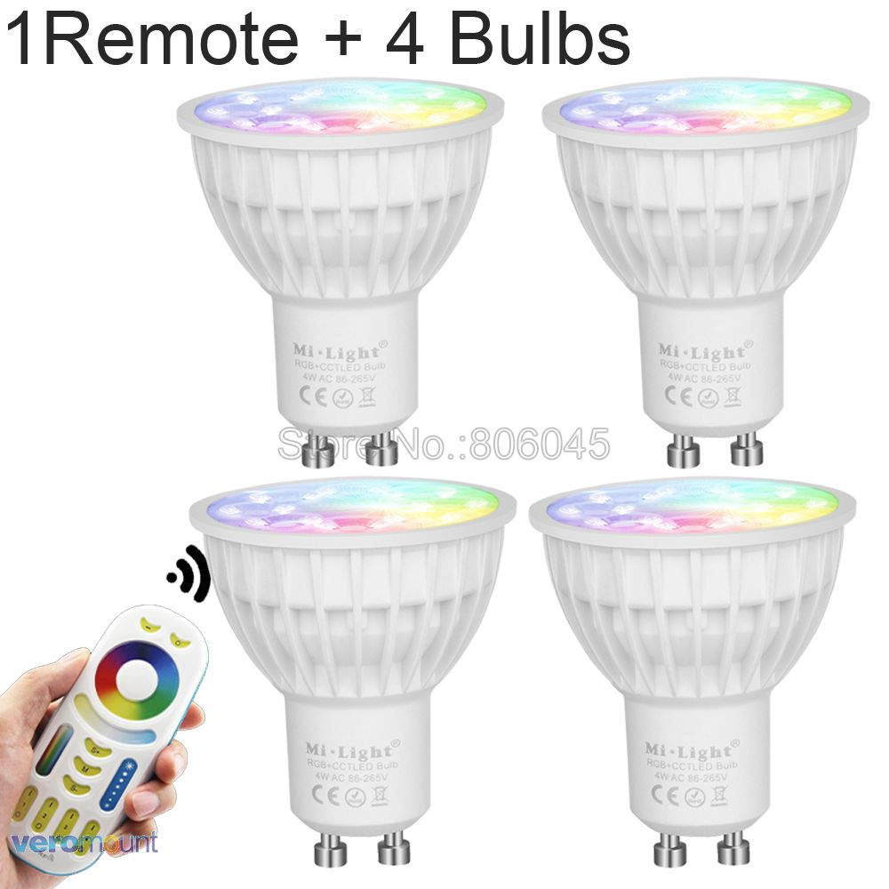 MiLight Dimmable LED Bulb 4W GU10 RGB+CCT (2700-6500K) Smart WiFi LED Spotlight FUT103 2.4G RF Wireless Remote Control