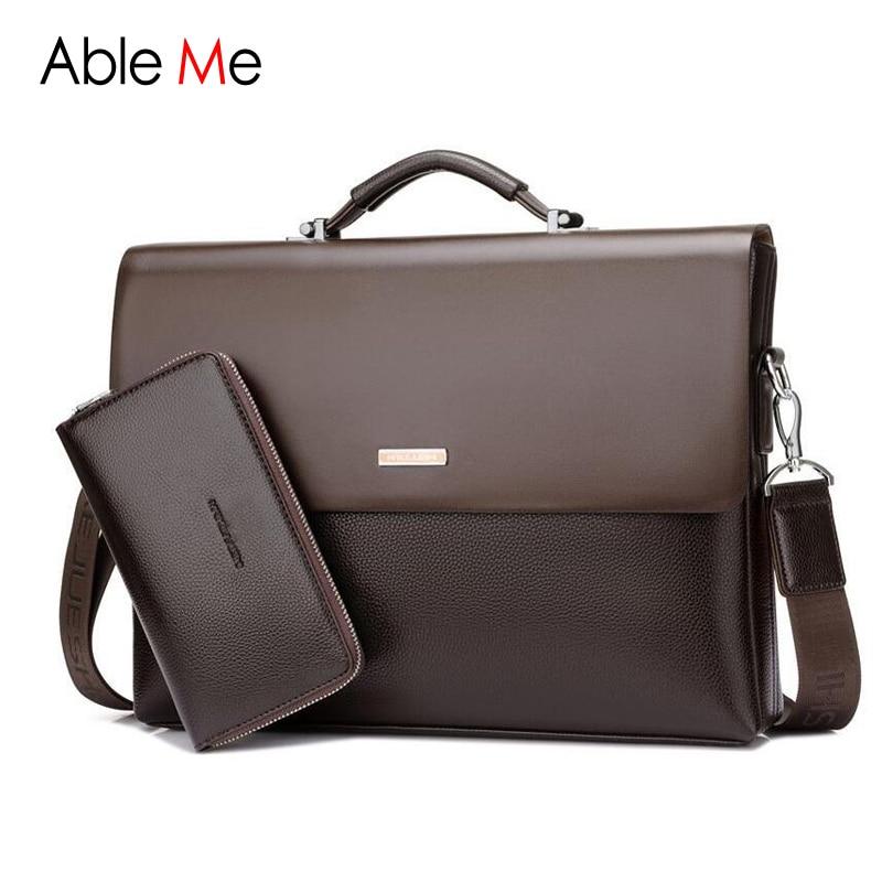 New Business Handbag Mens Fashion Leather Briefcases font b Bag b font Sacoche Homme Document Laptop