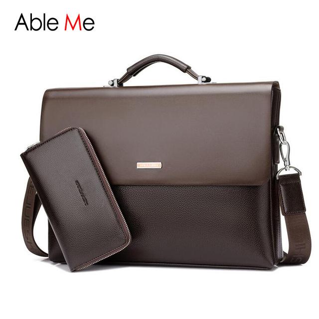 Nova Bolsa de Couro Da Forma Dos Homens de Negócios Pastas Bag Sacoche Homme bolsa Para Laptop Documento bolsa de Ombro Sacos de Homens Mensageiro