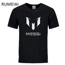 RUMEIAI 2017 summer brand 100% cotton Barcelona MESSI Men t-shirt tops Man casual short sleeve t shirts Size S M L XL XXL(China)