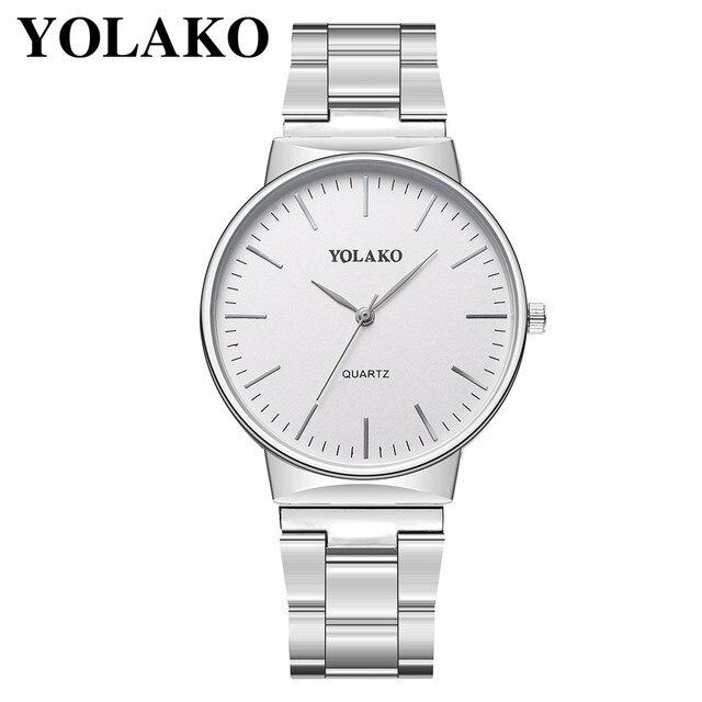 YOLAKO 2019 New Bracelet Man Luxe Watch Men's Quartz Stainless Steel Band Newv Strap Watch Analog Wrist Watch NY16