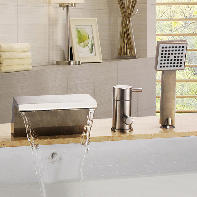 FREE SHIP Modern Bathroom WIDESPREAD 3 Pieces Square Waterfall Roman  Bathtub Tub Faucet Brushed Nickel