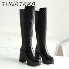 Women Winter Warm Fur Knee High Boots Platform Thick Heels Fashion Side Zipper Tall Boot Footwear Black White