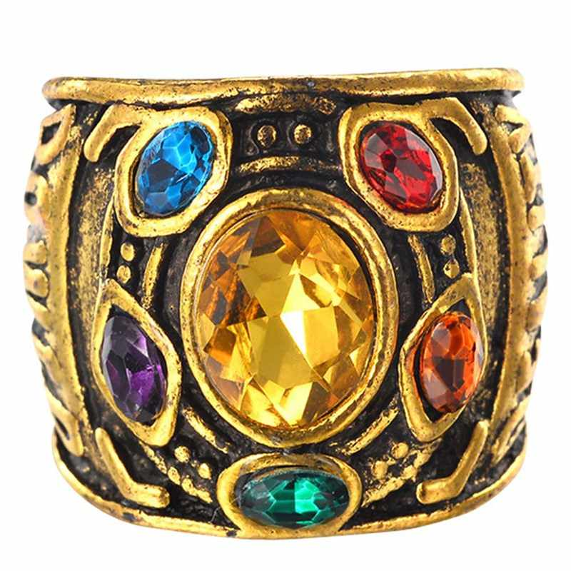 Infinity Glove Gauntlet Ring Crystal Insert Gold Finger Rings For Men Power Rings Jewelry