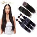 3 пучков прямые волосы с закрытие роза 7а дешево бразильский виргинский наращивание волос необработанный человеческих волос с закрытием