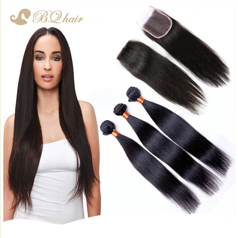 3 Bundles Straight Hair With Lace Closure Rosa 7A Cheap Brazilian Virgin Hair Extension Unprocessed Human