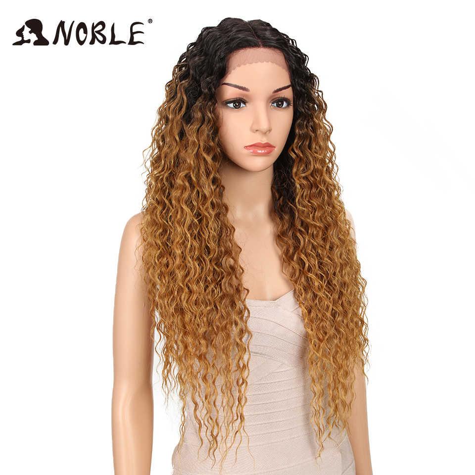 Благородные волосы синтетические волосы на кружеве парик Ombre волос длинные волнистые волосы 28 дюймов светловолосый парик для черный для женщин синтетическ...