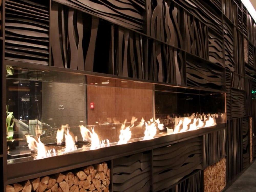 60 Inch Stainless Steel Intelligent WiFi Smart Ethanol Metal Box Fireplace