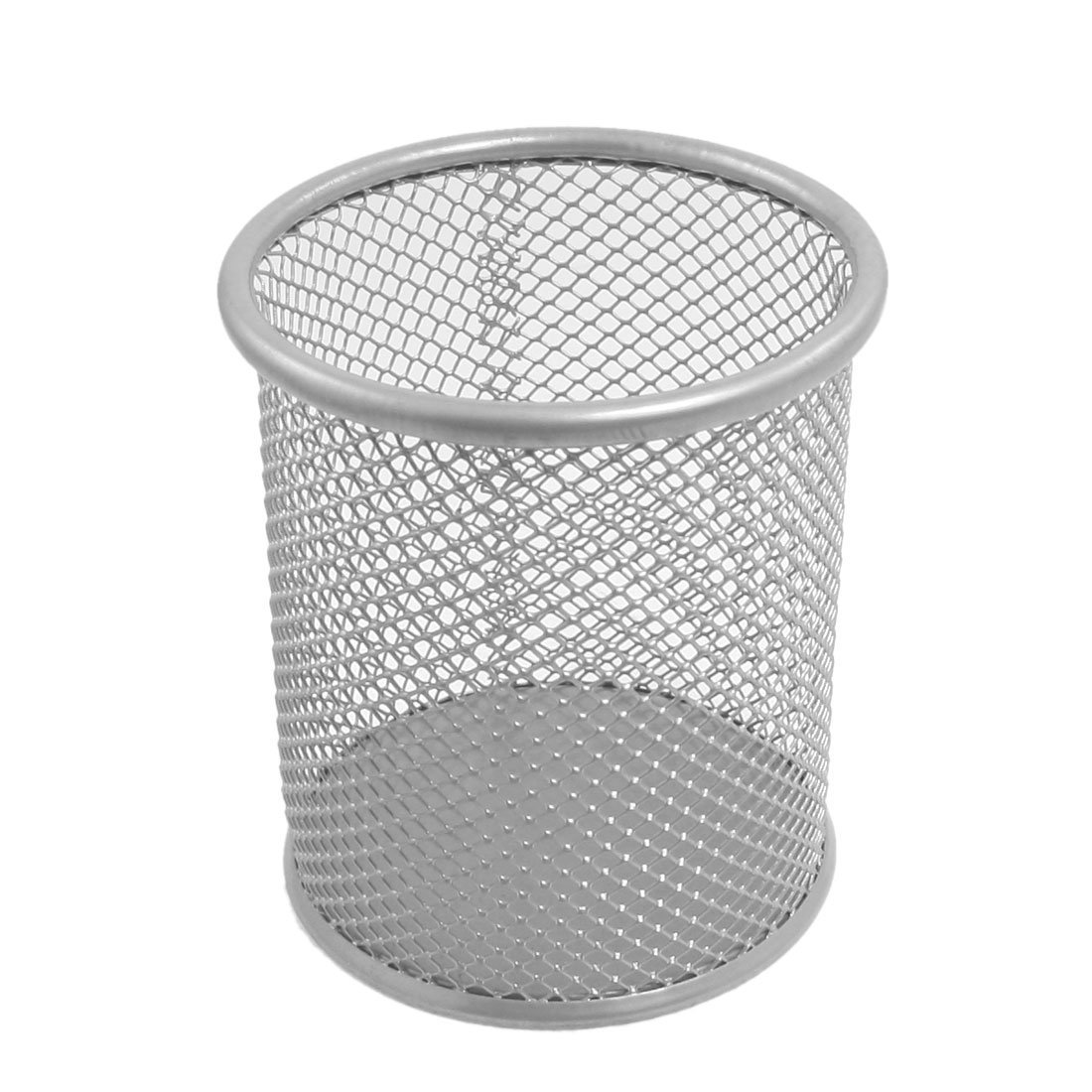 SOSW New Round Shaped Mesh Metal Brush Pot Pen Holder Penholder for ...