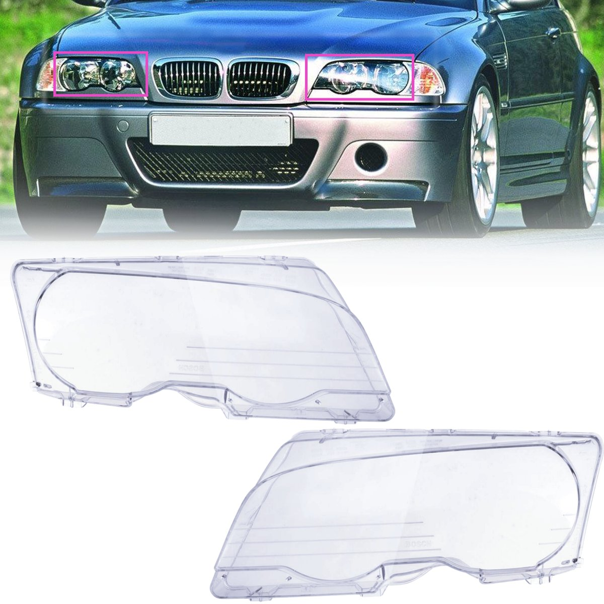 1 Pair Car Headlight Clear Lens Headlamp Clear Cover Coupe Convertible For BMW E46 2DR 1999-2003 M3 2001-2006 bmw 645 ci cabrio convertible 1 24