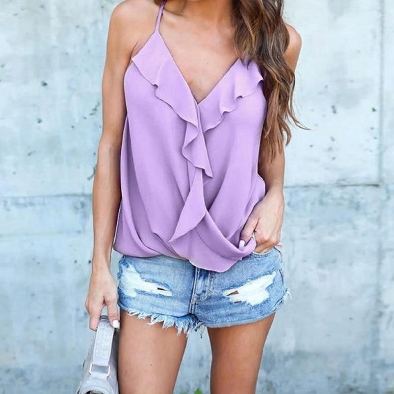 HENGSONG Off Shoulder Sleeveless Blouse Pink White Ruffles Chiffon Blouses Women Summer Casual Elegant Blusas