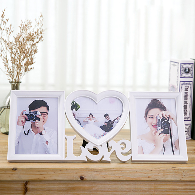European Modern Home Decor White Plastic Love Collage Photo frame ...