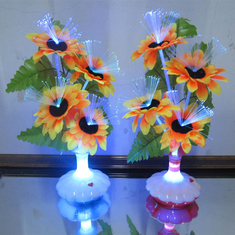 1 Pc Led Artificial Flower Light Optical Fiber Table Lamp Flower Calla Lily Vase Night Light Decoration For Home Party Decor Sale Price