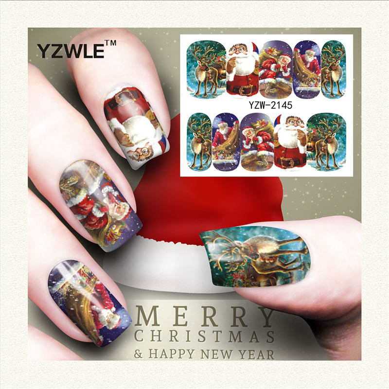YZWLE 1 Sheet Christmas Design DIY Decals Nails Art Water Transfer Printing Stickers Accessories For Manicure Salon (YZW-2145) yzwle 1 sheet hot gold 3d nail art stickers diy nail decorations decals foils wraps manicure styling tools yzw 6015