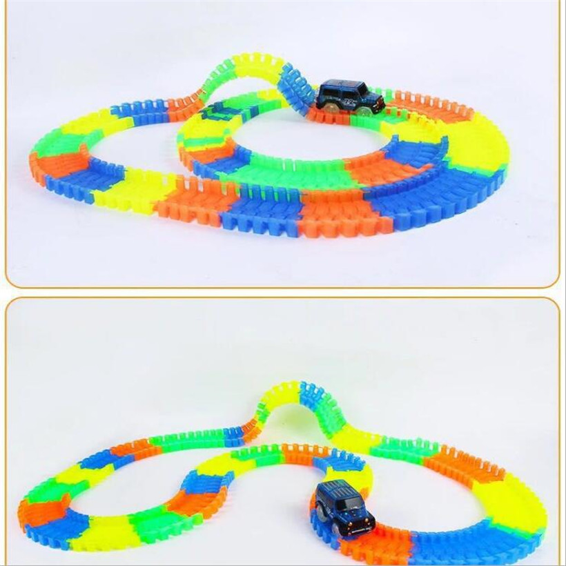 56/165/220/240/360pcs DIY Assembly LED Flash Glow Racing Kids Toys Funny Glowing Race Track Bend Luminous Toy Car Set