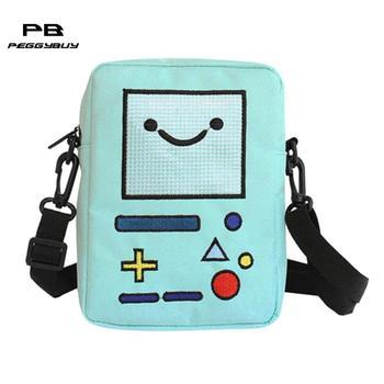 Nylon Mini Women Cross Handbags Cute Casual Smile Robot Shoulder Bag Zipper Messenger Bags Phone Purse for Girls mochila kawaii shoulder bag