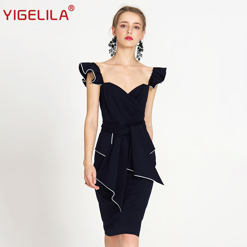 YIGELILA 2018 Summer Women Party Dress Fashion Sexy V-neck Spaghetti Strap Solid Sheath Knee Length Bodycon Dress 62838 цена
