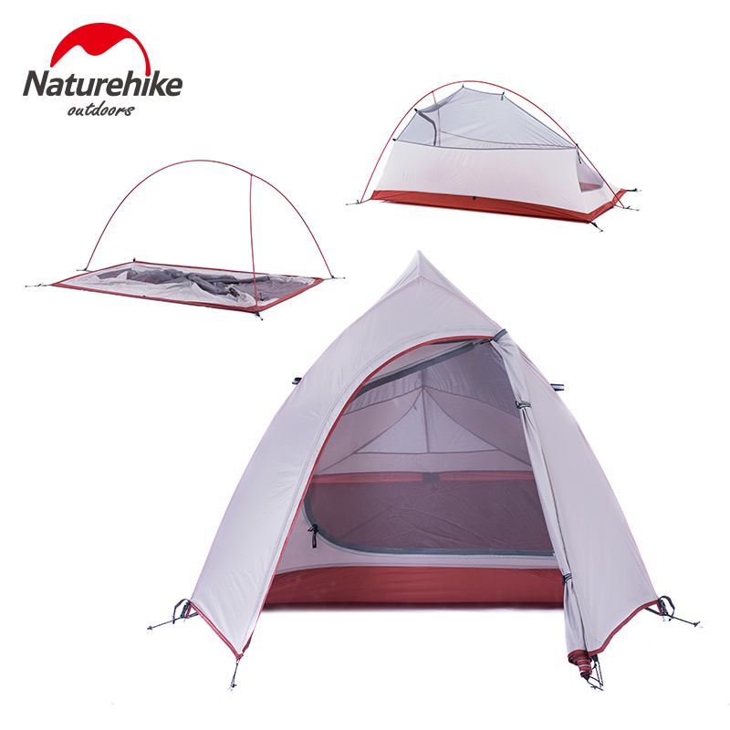 Naturehike Outdoor Tent 3 Person 210T/ 20D Silicone Fabric Double-layer Camping Tent Ultralight Family Tent Aluminum Pole 3
