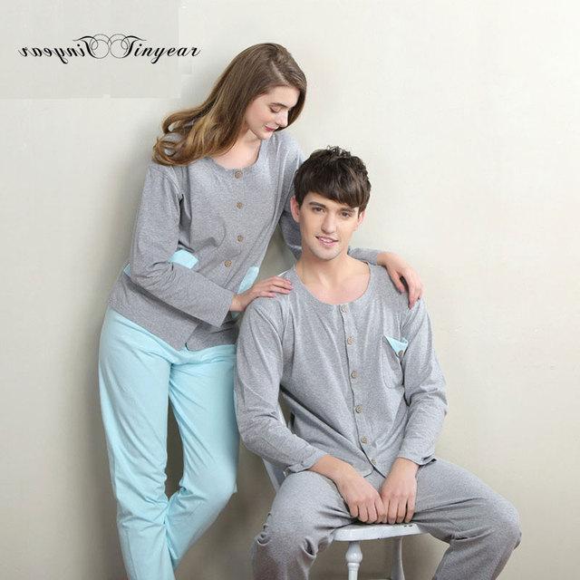 Envío libre suave de algodón mujeres pijama pijama conjunto completo de manga ronda de cuello súper delgada transpirable damas ropa de dormir conjunto