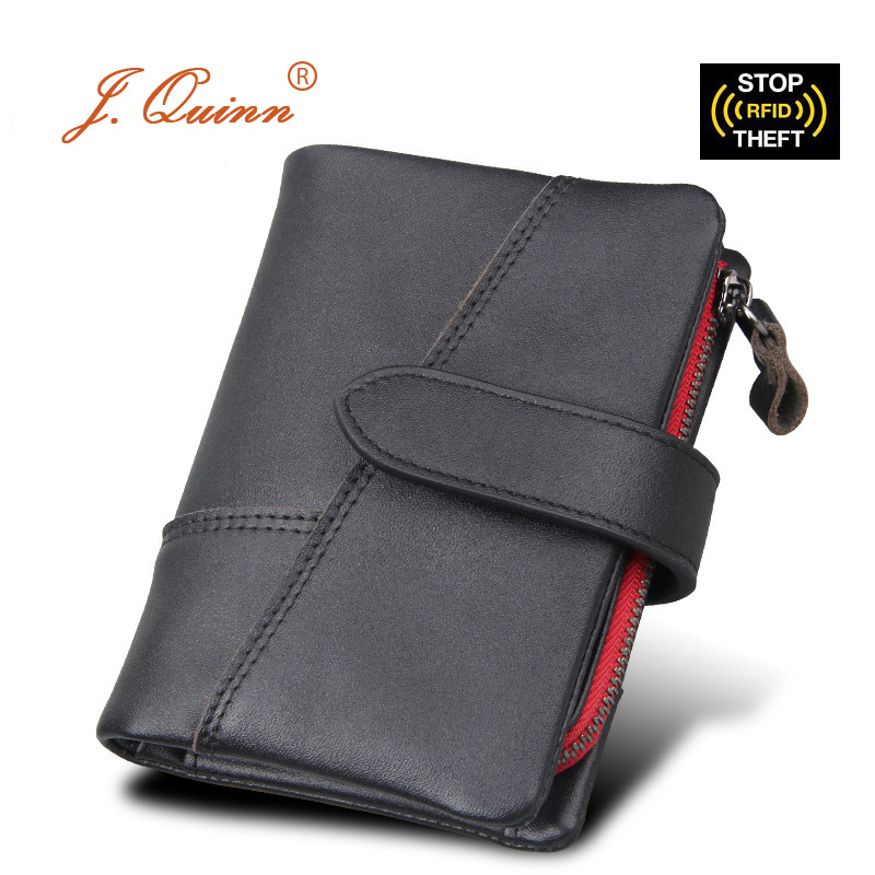 J.Quinn RFID Male Zipper Wallet Removable Mini SD Card Coin Purse Genuine Leather Mens Short Wallets 8 Credit Cards SIM Purses baellerry small mens wallets vintage dull polish short dollar price male cards purse mini leather men wallet carteira masculina