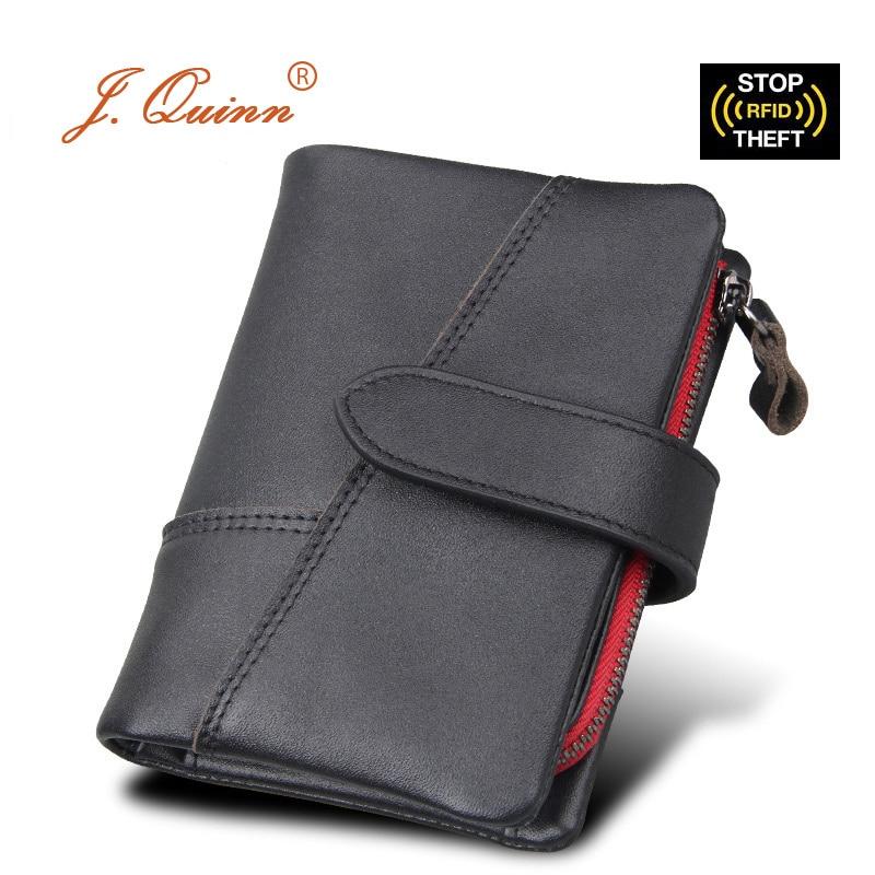 J. Quinn RFID homme fermeture à glissière portefeuille amovible Mini carte SD porte-monnaie en cuir véritable hommes portefeuilles courts 8 cartes de crédit SIM sacs à main