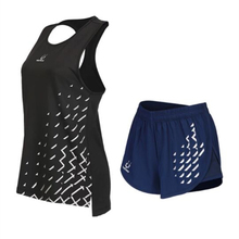 Women Yoga Sets Sportswear Running Sports T-shirt + Shorts Set Seamless Fitness Gym Seamless vest Elastic Short