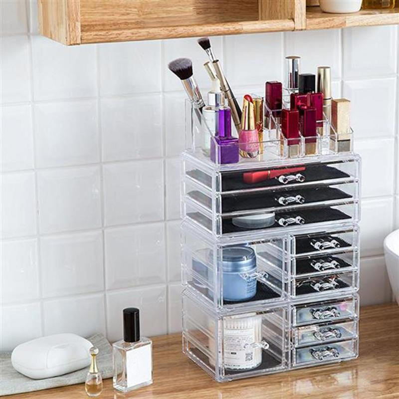 Plastic Transparent Makeup Organizer Shelf Rack Cosmetics Jar Bottle Make Up Storage Rack Box With Drawer