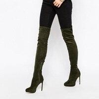 Most Popular Women Over The Knee Thigh High Boots Army Green Velvet Zipper Thin High Heel