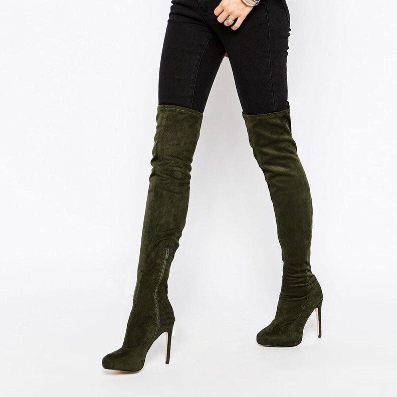 Most popular women over-the-knee thigh high boots army green velvet zipper thin high heel shoes hot seller fashion footwear