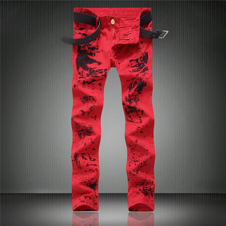 Red White Mens Stretch Jeans Slim Fit Ink Printed Street Fashion Skinny Jeans Men Hip Hop Casual Jogger Pants Male Trouser Brand fashion mens male pants brand zipper jeans men hip hop pants slim hole patch casual jeans fashiontrouser for men free shipping