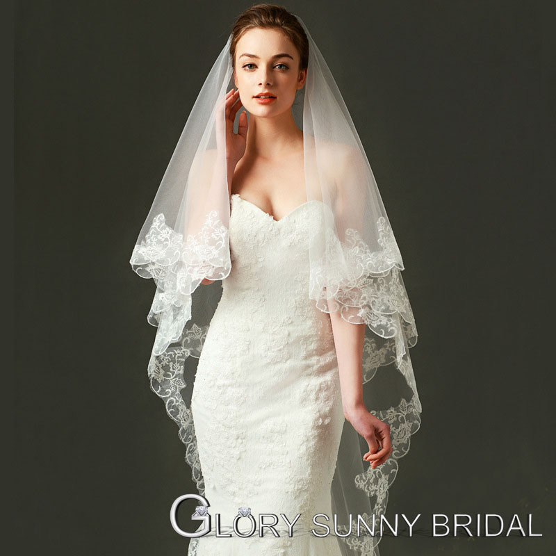 2016 Real Photos Light Ivory Wedding Veil 3m Long Lace Mantilla Bridal Veil Wedding Acce ...