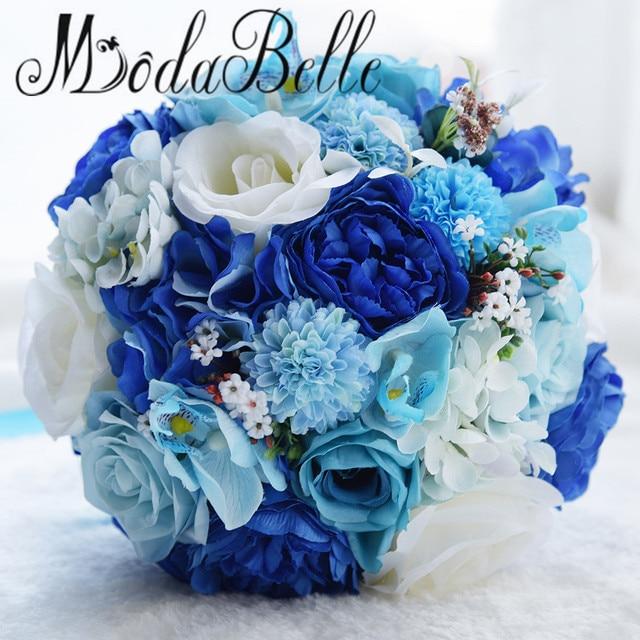 Modabelle Ocean Wedding Flowers Handmade Rose White And Blue Bridal Bouquet 2017 Vintage Artificial Bruidsboeket