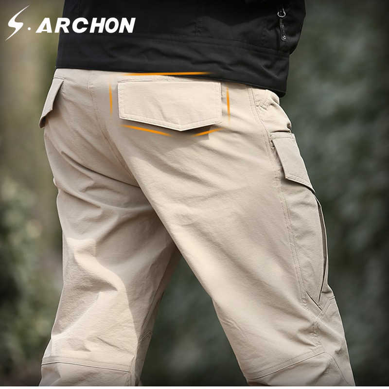 250cf3ad2f ... S.ARCHON Summer Tactical Quick Dry Cargo Pants Men Multi Pockets Cotton  Military Pants Rip ...