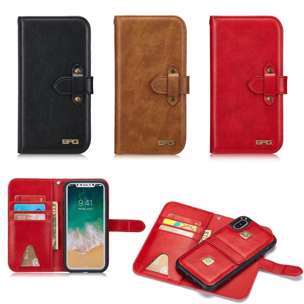Роскошный Съемный кожаный чехол для iPhone X откидная крышка с карт памяти держатель кошелек Дело Магнитная задняя крышка телефона сумка