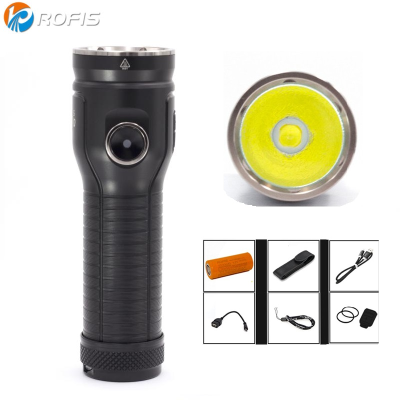 Linterna LED ROFIS MR70 CREE XHP 70,2 CW blanco neutro 3500 lúmenes Flash luz con USB con batería recargable 26650