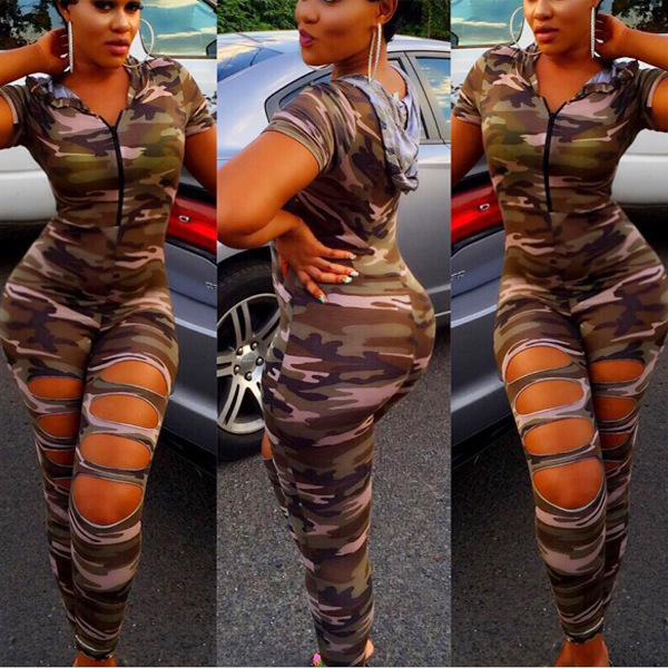 b9e0b862da79 2017 New Camouflage Jumpsuit Hooded Overalls Women Bodysuit Rompers Womens  Hole Army Green Suits Plus Size Combinaison Femme