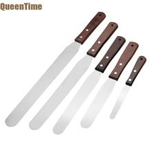 QueenTime Stainless Steel Spatula Cream Butter Scraper Batter Cake Spatula With Wood Handle Multi size  Baking Tools For Pastry